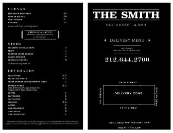 See Delivery Menu Here - The Smith