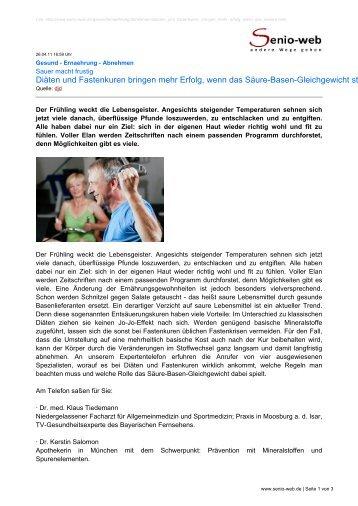 Diäten und Fastenkuren bringen mehr Erfolg, wenn ... - Senio-Web