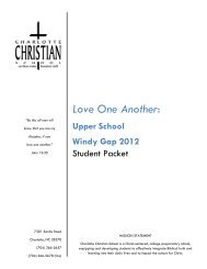 Love One Another: - Charlotte Christian School