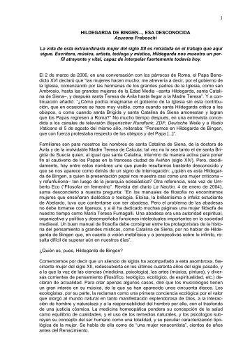 HILDEGARDA DE BINGEN..., ESA DESCONOCIDA Azucena ...