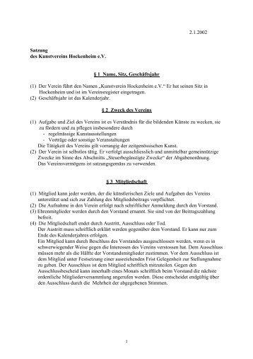 (1) Der Verein führt den Namen 'Kunstver - Kunstverein Hockenheim