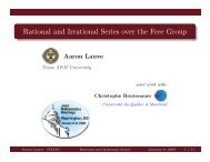 Rational and Irrational Series over the Free Group