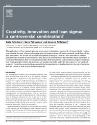 Creativity, innovation and lean sigma: a controversial combination?