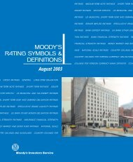 Moody's Rating Symbols & Definitions