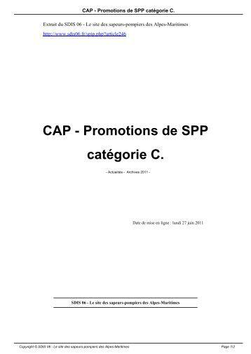CAP - Promotions de SPP catégorie C. - SDIS 06