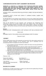 CONFEDERATED NATIVE COURT JUDGEMENT AND REASONS