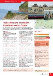 Transsibirische Eisenbahn -; Russlands weiter Osten