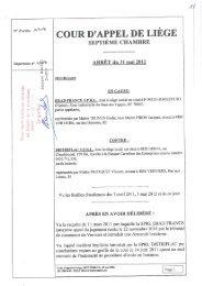 Arrêt de la Cour d'appel de Liège du 31 mai 2012 - Juridat