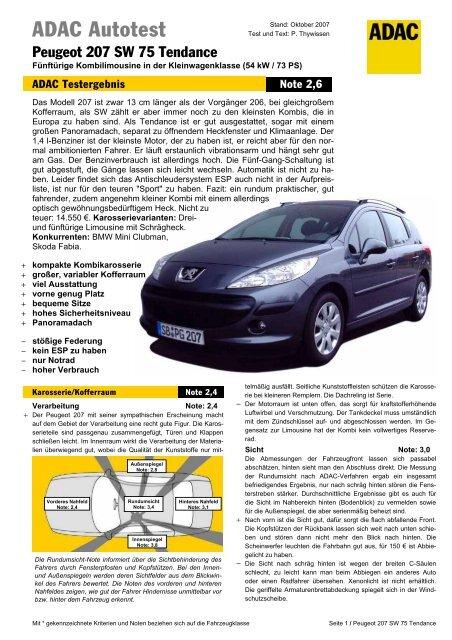 Umfassender Test Peugeot 207 Sw 75 Tendance Adac