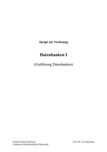 Skript Datenbanken I.pdf - Labor - Fachhochschule Stralsund