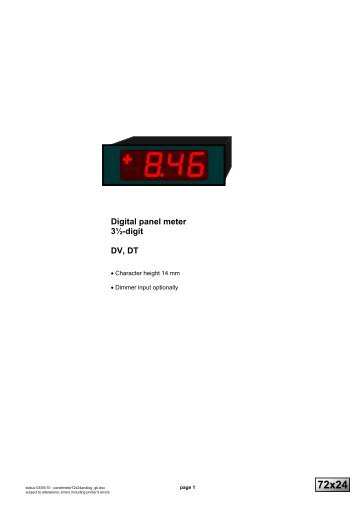 Digital panel meter 3½-digit DV, DT - Marktechnical.nl