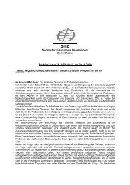 Society for International Development Berlin Chapter Protokoll ... - SID