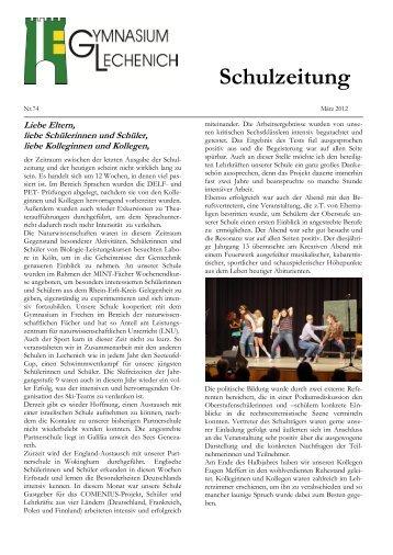 Schulzeitung - Ausgabe Ostern 2012 - Gymnasium Lechenich Erftstadt