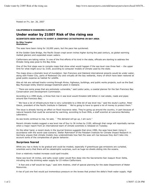 Underwater by 2100? Risk of the Rising Sea - Insurance in a ...