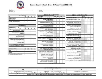 2nd Grade Report Card - Oconee County Schools