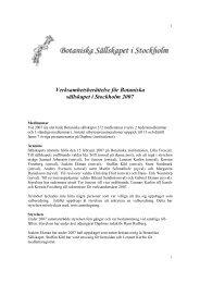 Verksamhetsberättelse för Botaniska sällskapet i Stockholm 2007