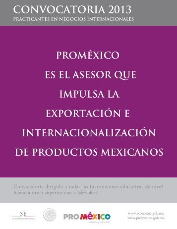 CONVOCATORIA 2013 - ProMéxico