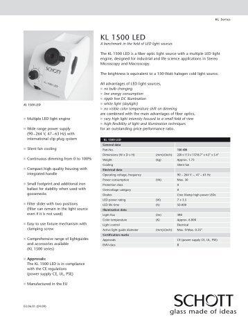 Schott KL 1500 LED Light Source Brochure - Meyer Instruments, Inc.