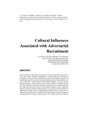 cultural influences on personality essay Environment in personality the environmental factors that exert pressures on our personality formation are the culture in which we are raised, our early conditioning, the norms among our.