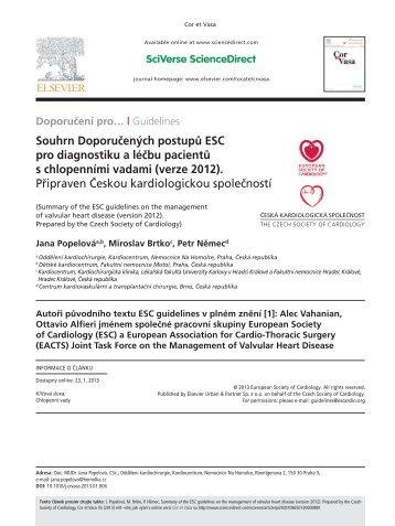 Souhrn Doporučených postupů ESC pro diagnostiku a léčbu ...