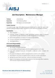 Job Description: Maintenance Manager - American International ...