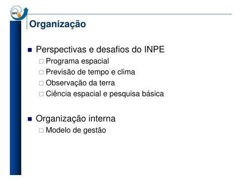 Organização - INPE/OBT/DGI