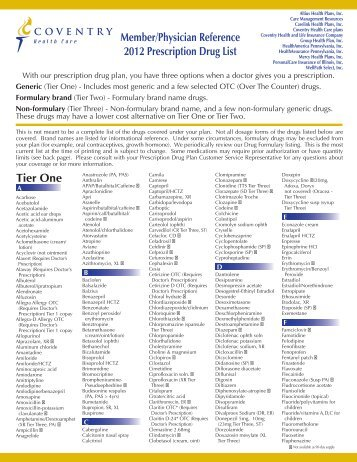 Member/Physician Reference 2012 Prescription Drug List Tier One