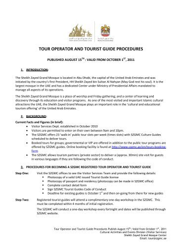 Procedures for Tour Operators and Tourist Guides Valid 2011-2012