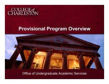 Provisional Program Slideshow - Orientation