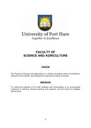 faculty of science and agriculture – vision - University of Fort Hare