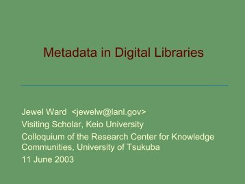 Metadata in Digital Libraries