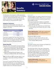 Benefits Summary - Advocate Benefits - Advocate Health Care