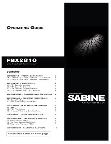 op guide - Sabine, Inc.