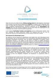 Teilnahmebedingungen Lifelong Learning Award 2013