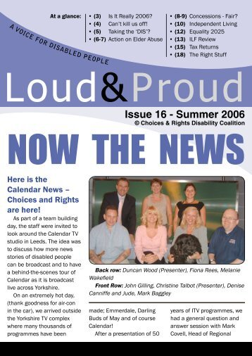 Issue 16 - Summer 2006 - Choices and Rights Disability Coalition