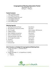 Congregational Meeting Information Packet - College Park Church