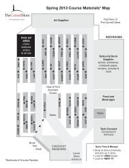 Spring 2013 Course Materials* Map - The Cornell Store