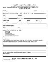 STUDENT STUDY TEAM REFERRAL FORM