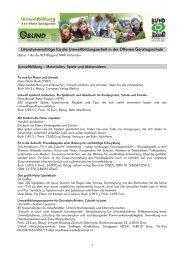 Literaturvorschläge für die Umweltbildungsarbeit in der Offenen ...