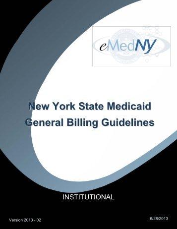 General Institutional Billing Guidelines - eMedNY