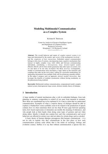 Modeling Multimodal Communication as a Complex System