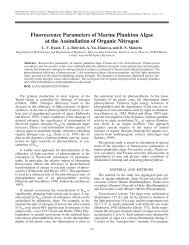 Fluorescence parameters of marine plankton algae at the ...
