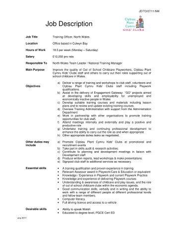 Job Description - Clybiau Plant Cymru: Kid's Clubs