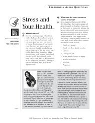 Stress and your health fact sheet - WomensHealth.gov