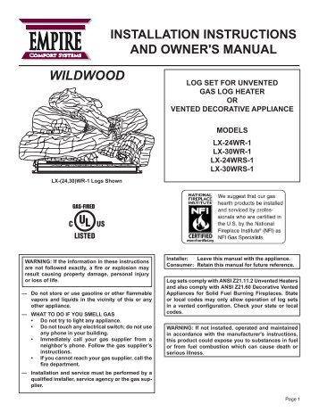 White Mountain Hearth LSu30rr-2 Installation Instructions And Owner's Manual