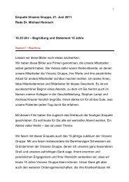 Enquete Vinzenz Gruppe, 21. Juni 2011 Rede Dr. Michael Heinisch ...