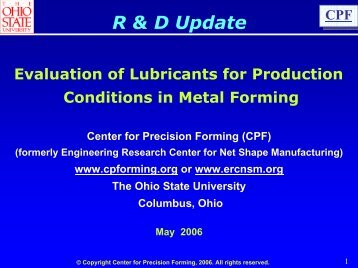 Evaluation of Lubricants for Production Conditions in Metal Forming