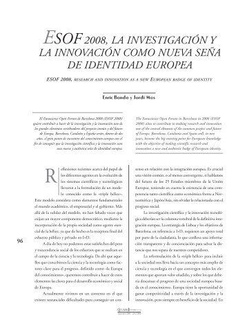 ESOF 2008, la investigación y la innovación como nueva ... - Quark
