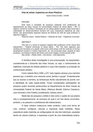 703 Vida de artista: trajetórias em Artes Plásticas A temática ... - anpap