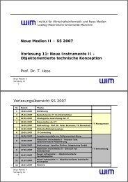 VL11 - Objektorientierte technische Konzeption - Institut für ...